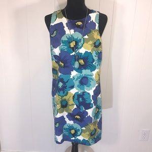 LOFT Floral Sheath Dress In Citron & Blue 🦚